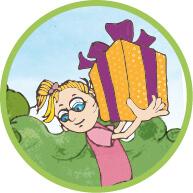 Illustration, Kindergeburtstag, Ökologisches Bildungszentrum München, Mädchen mit Geschenk