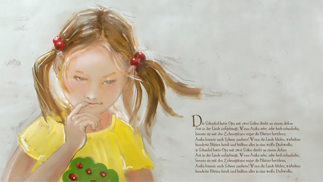 Kunderbuchillustratiom, malerische Illustration, Illustration Mädchen, Roter Eimer, Tanja Leodolter